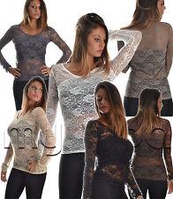 Maglia maglietta donna pizzo sexy girocollo manica lunga fiori ricamo moda M107