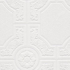 Neo Classic Ceiling Tile Raised White Textured Paintable Wallpaper 48929