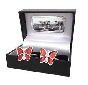 Red Butterfly Cufflinks with swarovski crystal personalised mens gift Cuff Links