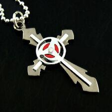 New Naruto Kakashi Sasuke Sharingan Metal Eye Cross Pendent Necklace Locket
