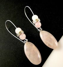 Natural Rose Quartz Horse Eye Gemstone Dangle Earrings with Gemstone Beads #1364
