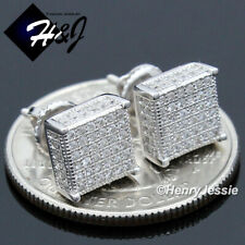 MEN 925 STERLING SILVER ICY DIAMOND 8MM 3D SQUARE SCREW BACK STUD EARRING*E149