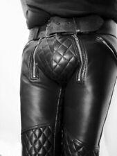 Men's Cowhide Leather Pants Punk Kink Jeans Trousers BLUF Pants Bikers.