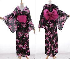 K-69 NERO ROSA FIORI ORIGINALE Giappone Cotone Kimono Yukata cintura obi