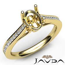 Oval Cut Diamond Bezel Setting Engagement Semi Mount Ring 14k Yellow Gold 0.3Ct