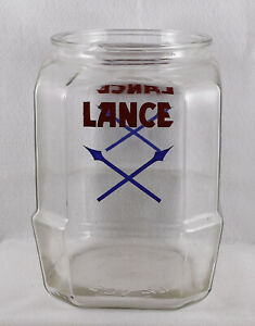 """Lance Eight Sided Cracker Cookie Jar No Lid Rim Chip (10 1/2"""" Tall)"""