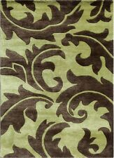 Transitional Oasis Green/Java Color 5X8 Feet Wool and Viscose Hand Tufted Rug