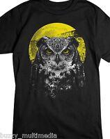 Night Owl Shirt, Bird Of Prey Shirt, Golden Moon & Piercing Eyes, Sm - 5X
