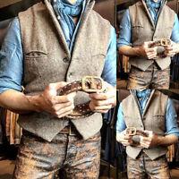 Mens Tweed Waistcoat Vest Wool Blend Herringbone Notch Lapel Silm Fit M-2XL