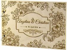 rustique Livre D'or de mariage en bois personnalisé avec nom & DATE Motiv 3