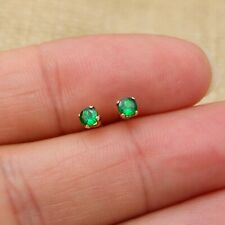 14k Gold Filled Tiny 3mm Round Natural Tsavorite Garnet Stud Earrings