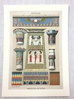 1883 Antique Print Egyptian Hieroglyphics Architecture Architectural Art Design