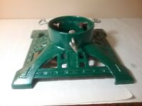 "ANTIQUE VINTAGE CAST IRON 14"" SQUARE CHRISTMAS TREE STAND WITH 6"" DIAMETER FOR T"