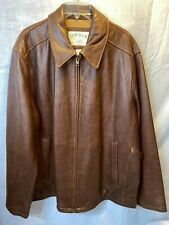 Orvis Sporting Traditions Leather Zip Up Jacket Brown Large Vintage Coat New