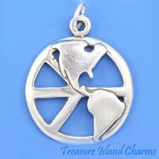 WORLD PEACE SYMBOL SIGN with CONTINENTS .925 Sterling Silver Charm Pendant