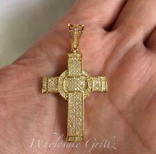 New Mens Ladies MICRO Cross Pendant 14K Gold gp Simulate Diamond PAVE Icy Charm
