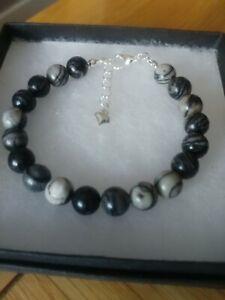 New Black Veined Jasper Gemstone Bracelet