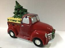 Blue Sky Clayworks Ceramics Red Pickup Truck Christmas Tree Wreath Cookie Jar