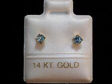 Feinste Blautopas Ohrstecker - 3 mm - 14 Kt. Gold - 585 - Brillant Cut Ohrringe