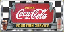 COCA COLA SODA FOUNTAIN SERVICE OLD SIGN REMAKE BANNER ART GARAGE SHOP 2' X 4'