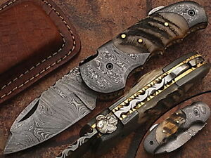 Eye Catching  Damascus Steel Folding Knife, Hand Made, DB_5060-R