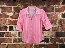 Shirt Collar Blouse Pink and Red Stripes ¾ Sleeve w/ Cuff