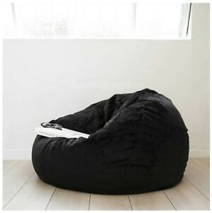 """1 PC Black Velvet Bean Bag Cover Large 44"""" x 44"""" x 24""""(inch) [Without Beans]"""