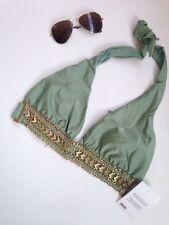 ASOS Fuller Bust Belted Deep Plunge Swimsuit Bikini Top Bralet 34E Gold Khaki