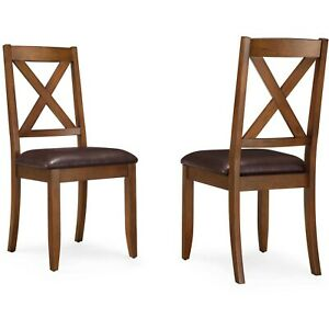 Better Homes & Gardens CrossingMaddox  Sturdy Wood Dining Chair, Set of 2,Brown