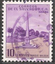 El Salvador Air Post Stamp - Scott #C154/A176 10c Purple & Lt Brn Canc/LH 1954