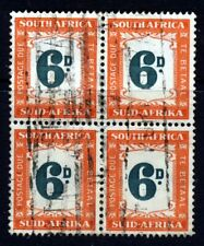 SOUTH AFRICA 1950 POSTAGE DUES 6d. Green & Orange BLOCK OF FOUR SG D43 VFU