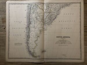 1876 South America (North) Large Hand Coloured Antique Map by Johnston