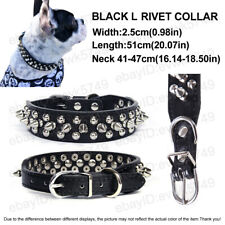 Dog Leather Collar Rivet Spiked Studded Pet Dog Collar L Black