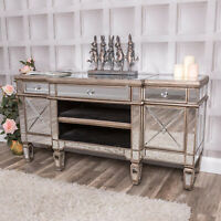 Large Mirrored Television Stand TV Unit Champagne Gold Furniture Glass Cabinet