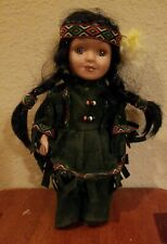 """Vintage CATHAY COLLECTION Ltd Edition Native American Indian Girl Doll 8.5"""" Tall"""