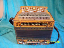 2 row Antonin Hlavacek Louny Heligonka Accordion button box Helicon bass GC #1