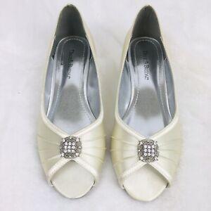 Davids Bridal 'Kelsey' White Ivory Satin Peep Toe Wedge Heels Women's Size 9.5 M