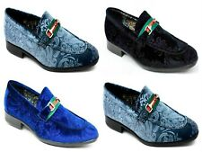 MENS VELVET PRINT SMART FORMAL WEDDING/PARTY POINTED TOE SLIP ON SHOES SIZE 6-11