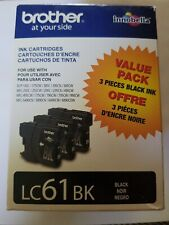 NEW IN BOX 3 PACK NEW GENUINE BROTHER LC61BK BLACK INK CARTRIDGES