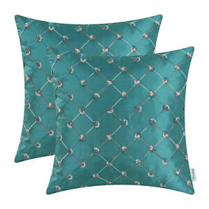 2Pcs Teal Pillow Shell Cushion Covers Embroidered Geometric Chain Home Sofa 45cm