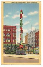 TOTEM POLE Alaska Indians Pioneer Square Seattle WASHINGTON Postcard Linen 1947