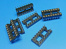 """6x IC Socket Turn Pin Gold Plated (Inner Contacts) DIL Socket 16 Way 0.3"""""""