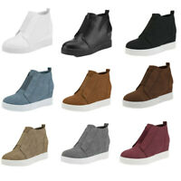 Women Hidden Wedge Slip On Mid Heel Ankle Boots Trainers High Top Sneakers Shoes