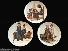 "1982 Lot of 3 Norman Rockwell Plates, 6-1/2"", Cobbler, Lighthouse, Good Boy"