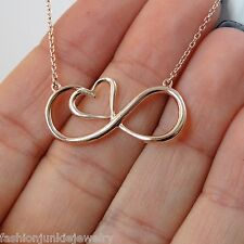 Infinity Necklace - 925 Sterling Silver - Rose Gold Infinity Sign with Heart NEW