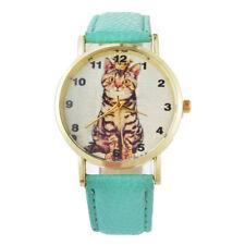 Toyger Cat Domestic Feline Kitten Pet Dial Green PU Leather Unisex Wrist Watch