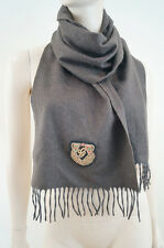 GUCCI Made In Italy Brown Unisex Wool Angora  Cashgora Gold Badge Fringed Scarf