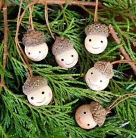 Set of 6 mini wooden acorn pixie elf hanging Christmas tree decorations, kids
