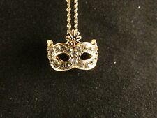 Anhänger 24 Karat Gold Fox Maske Strass Blume Halskette Schmuck Design Deluxe