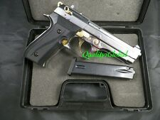 FILM PRODUCTION SEMI* FULL CHROME GOLD REPLICA BERETTA 92 METAL MOVIE PROP GUN